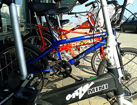 A selection of bicycles outside High Tide Cycles.