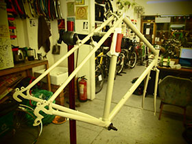 Custom Touring Bicycle, back from the painters